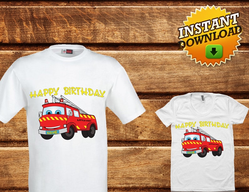 8a10fa6232c Firetruck personalized Birthday iron on Shirt-Firefighter | Etsy