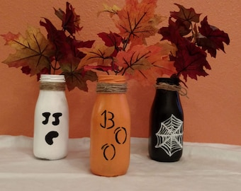 Halloween milk jars