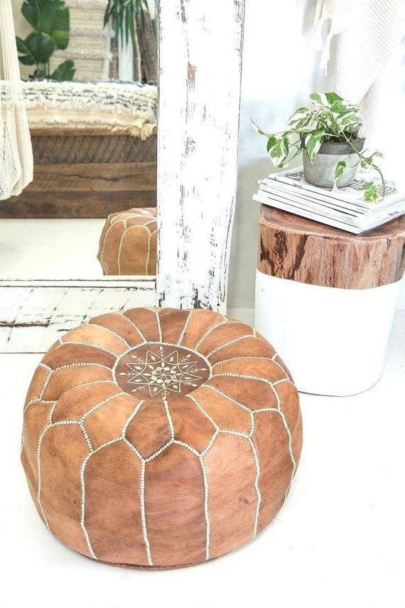 Moroccan pouf,Express Free shipping 50% OFF ottoman pouf,Light Tan color,Best offer ottoman Pouf,Footstool pouf leather ,ottoman pouf