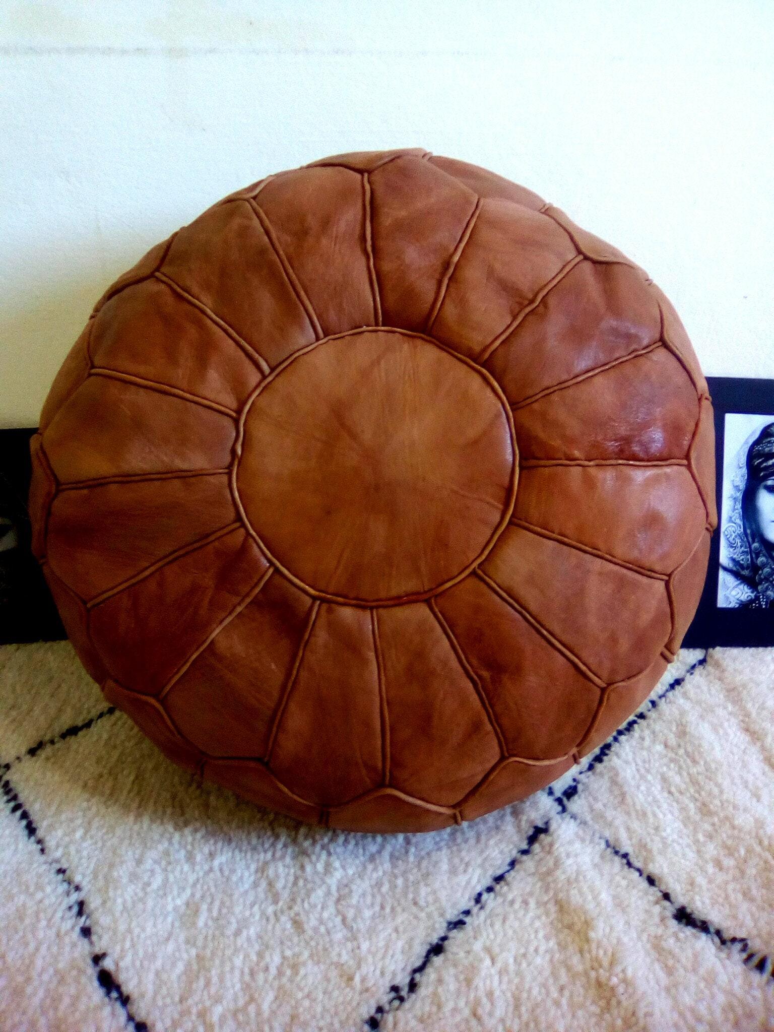ottoman pouf,Brown leather pouf,moroccan pouf, handcrafted Ottoman pouf, handmade pouf, moroccan pouffe.stool
