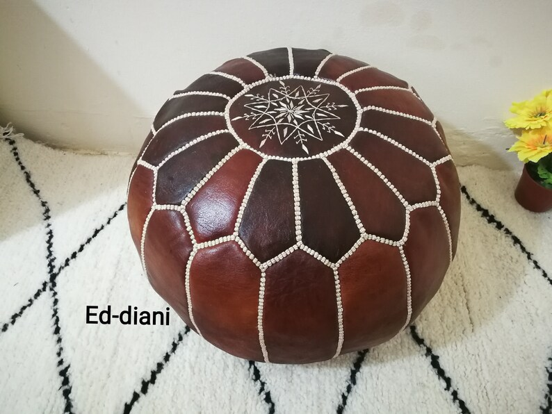 Moroccan pouf Ottoman  pouf moroccan pouffe.moroccan pouf pouf handcrafted handmade puff leather pouf