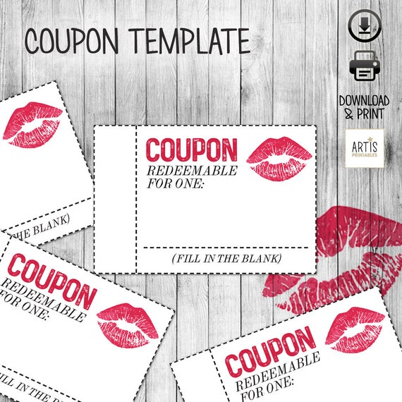 Printable Coupon Book Digital Paper Coupon Empty Love Etsy