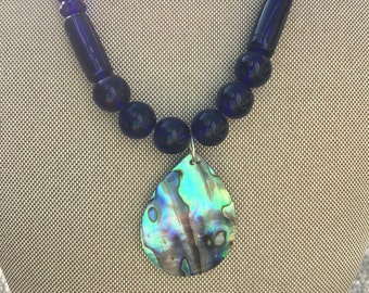Blue Glass Necklace with Abalone pendent