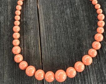 Graduated Coral Swarovski Pearl Necklace
