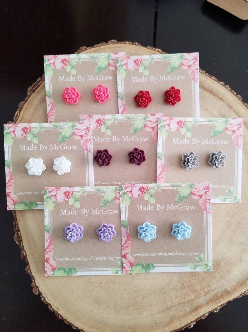Flower earrings Mothers Day succulent Studs Succulent earrings resin earrings flower studs flower cabochon