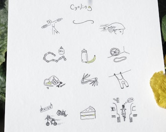 Contemporary Limited Edition Illustration with Cycling Theme - Unframed