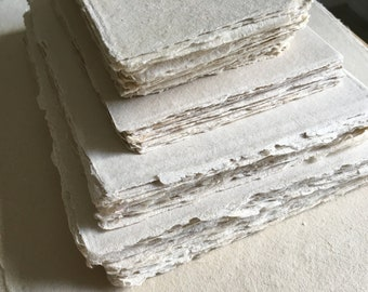 SAMPLE PACK Deckle Edge Paper, Handmade Paper, Card Stock, Cardstock Paper, Deckle Paper, Handmade Stationery