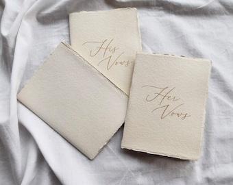 Wedding Vow Books, Vow Book, Deckle Edge Vow Book, Unstitched Vow Book, Handmade Paper