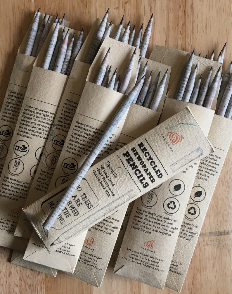 5 Recycled newspaper pencils Pencils Handmade paper HB 2 5 HB2Pencil Pack x 5