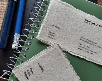 2 x 3.5 inch, Business Cards, Deckle Edge Cards, Handmade Paper, Deckle Edge Paper, Visiting Cards, Clothing Tags, Thick Card Stock
