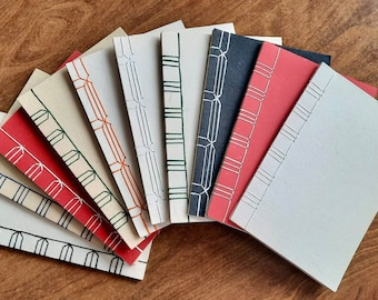 A5 notebook, handmade paper notebook, hand stitched journal, Japanese Stab Binding Journals, Recycled Handmade Paper, Eco Friendly Gift