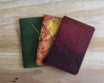 Small Notebook, Handmade Paper Notebook, Hand Bound Pocket Notebook, Red Notebook, Green Notebook, Rustic Notebooks, Refills