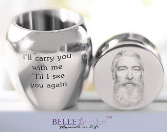 Mini Urn Silver Personalized Keepsake, Photo Cremation Jewelry, Mini Urn, Urn for Human Ashes, Memorial Urn, Pet Urn, Funeral Urn