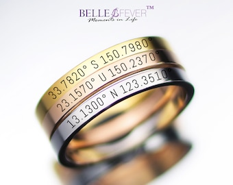 Coordinate Ring Location Ring,Valentine/'s Gift Silver Latitude Longitude Ring Longitude Latitude Gold Ring,Personalized Ring