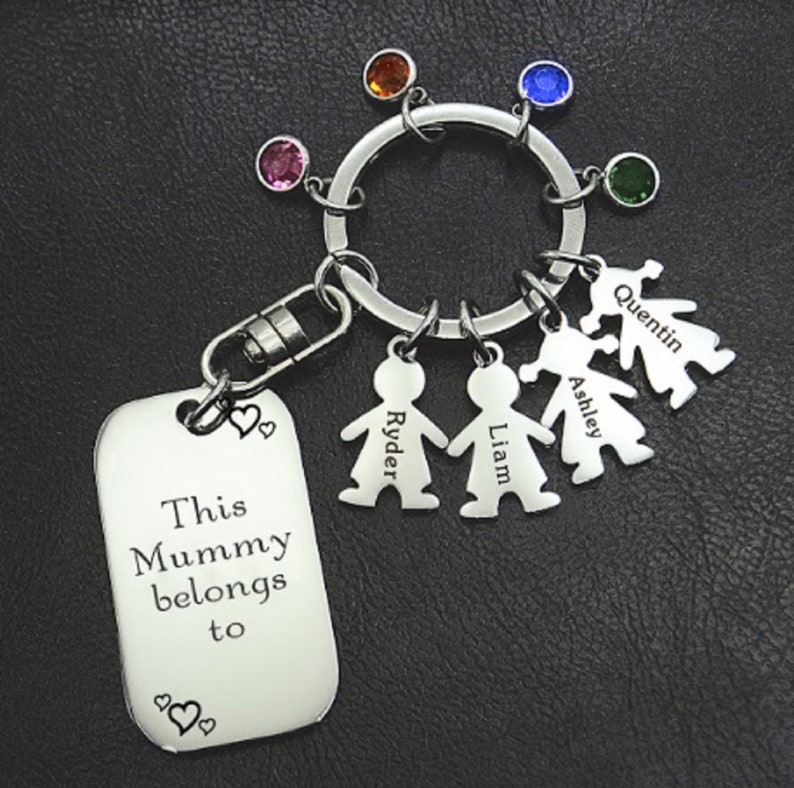\u2022 Personalized Keyring \u2022 Gift for her \u2022 Gift for mom \u2022 Grandma Gift \u2022 Christmas gifts Kids Love Keyring Tag 1 silver kid charm INCLUDED