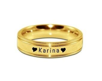 Gold Wedding Rings, Promise Rings, For Fiancé, For Fiancée, Wedding Ring, Personalized Ring, BF Personalised Ring Gold ONLY 49