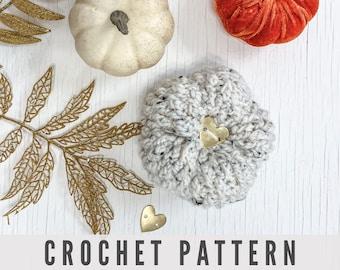 Crochet Pattern - Rustic Farmhouse Textured DIY Crochet Pumpkin using Alpine Stitch