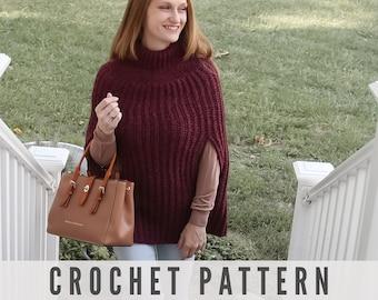 Crochet Poncho Pattern - Womens Poncho - Easy Crochet Pattern