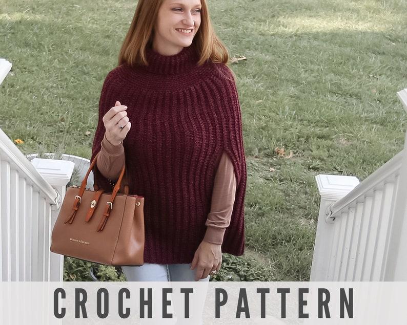 Crochet Poncho Pattern  Womens Poncho  Easy Crochet Pattern image 0