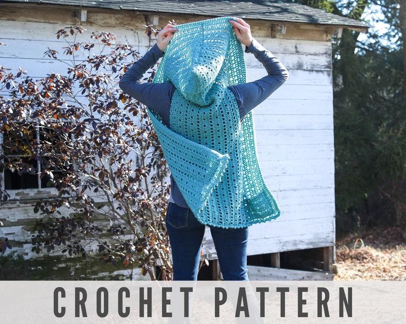 Crochet Hooded Vest Pattern  Easy Beginner crochet pattern image 0