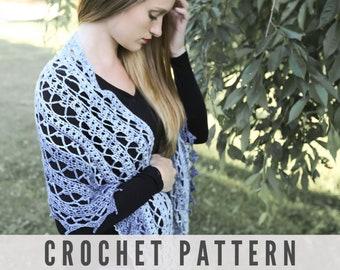 CROCHET PATTERN - Lacy Vintage Style Crochet Shawl Wrap Pattern with Chart Diagram