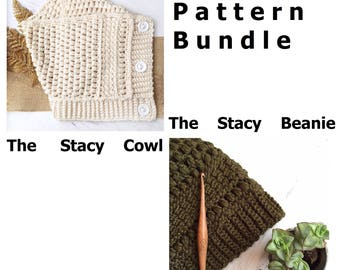 Crochet Pattern Bundle / The Stacy Beanie / The Stacy Cowl / Slouchy Beanie / Cozy Cowl / Crochet Cowl / Crochet Pattern / DIY Crochet