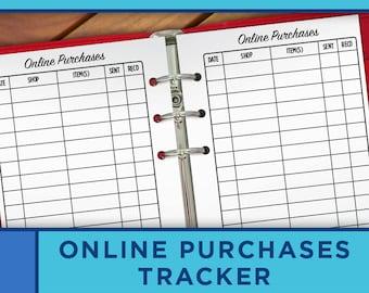 online purchases tracker printable checklist personal planner inserts erin condren filofax kikki k midori p009