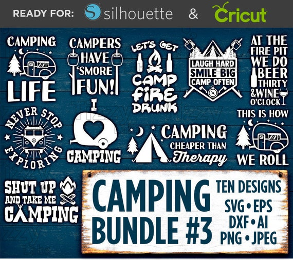 Camping Svg Bundle Set 3 Svg Files Camping Svg Files For Etsy