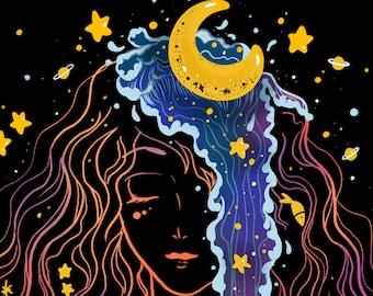 I Am The Universe, Cosmic art, Female empowerment, Affirmation art, Manifestation, Self love inspiring quote wall art