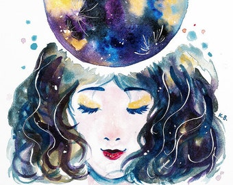 I Am Whole, Cosmic art, Female empowerment, Affirmation art, Manifestation, Self love inspiring quote wall art