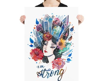I am strong, Girl Power, Women Power, She Persisted, Inspirational poster Quote wall art Quote poster Wall art print Feminism