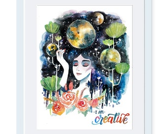 I am creative, Girl Power, Women Power, She Persisted, Inspirational poster Quote wall art Quote poster Wall art print Feminism