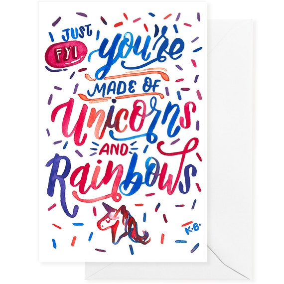 Unicorns Rainbows Funny Love Card Love Card Card For Him Etsy Delectable Funny Quotes For Valentines Day Cards