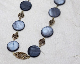 Blue Mother of Pearl Beaded Necklace