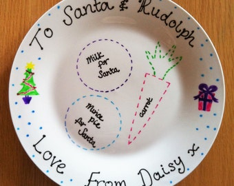 Personalised Christmas Eve Plate - Snacks for Santa & Rudolph