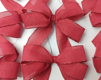 """7"""" Christmas Tree Bows (Set of 9), Decorative Red Christmas Tree Bows, Best Christmas Garland Bows, Small Wired Bow Ornament, Set of Bows,"""
