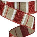 Wired Patriotic Ribbon, 1.5 inch Red Glitter, White, and Beige Horizontal Stripes Wired Ribbon, 4th of July Crafts, Ribbon for Wreaths