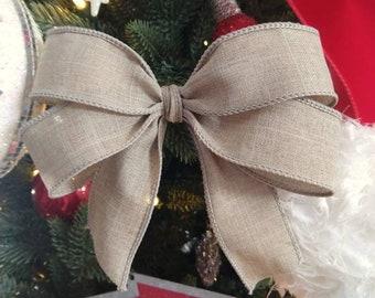 "7"" Christmas Tree Bows (Set of 9), Decorative Christmas Tree Bows, Best Christmas Garland Bows, Wired Bow Ornament, Linen Look Tan Bows"