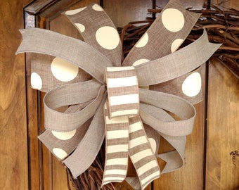 Farmhouse Bow, Everyday Bow, Wired Edge Ribbon Bow, Lantern Bow, Summer Bow for Wreath, Rustic Wreath Decor, Beige and Ivory Bow, Wreath Bow