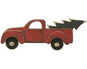 Distressed Wooden Red Truck Sign, Red Truck Decor, Christmas Sign for Wreath, Wreath Supplies, Winter Wall Sign, Cute Holiday Decor