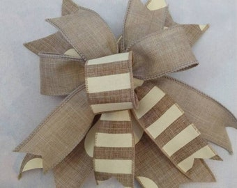 Set of 4 Mini Farmhouse Bows, Everyday Bow, Wired Edge Ribbon Bow, Lantern Bow, Rustic Wreath Decor, Beige and Ivory Bow