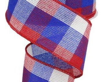 Wired Patriotic Ribbon, 2.5 inch Red, White and Blue Plaid Ribbon, 4th of July Crafts, Patriotic Ribbon for Wreaths, Wreath Making