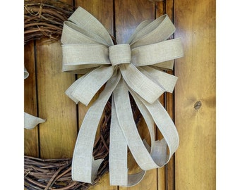 Farmhouse Bow, Wired Bow, Tan Bow, Neutral Spring Bow, Bow for Beach Wreath, Replacement Lantern Bow, Rustic Linen Bow, Bow for Mailbox