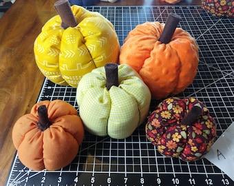 SALE! Fall Fabric Pumpkins, Handmade Stuffed Pumpkins, Autumn Mantle Decor, Tiered Tray Accent, Farmhouse Pumpkins, Thanksgiving Decorations