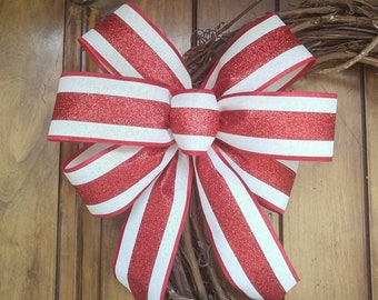 Christmas Bow for Wreath, Wired Edge Ribbon Bow, Best Bow for Christmas, Red Striped Lantern Bow, Candy Cane Bow, Winter Decor, Elegant Bow