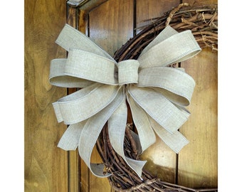 Farmhouse Bow, Neutral Spring Bow, Beige Wired Bow, Bow for Beach Wreath, Replacement Lantern Bow, Rustic Linen Bow, Bow for Mailbox