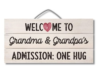 12″ x 6″ Slatted Wood Sign, Grandparents Sign, Sign for Wreath, Door Hanger, Wooden Sign for Wreath, Welcome Sign, Gift for Grandparents
