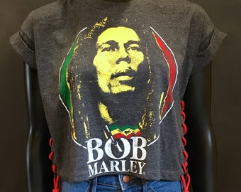 Bob Marley Cropped T-Shirt with Laced up Sides and Back Detail by Cedella Marley