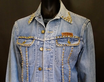 Vintage Catch A Fire Rude Gal Gold Spiked and Studded Denim Jacket