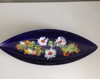 Large vintage enamelled light-footed bowl/plate/centerpiece/trinket tray white blue by DDR DDR MCM